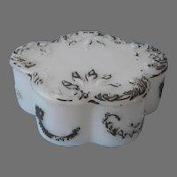 Milk Glass Antique Trinket Box Cartouche Shape Scrolled