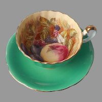 Aynsley Hand Painted Bone China Cup Saucer Fruit Green Fluted D. Jones