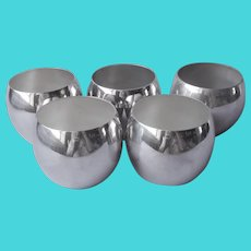 Towle Roly Poly Silver Plated Cocktail Handleless Punch Cups 5 Vintage