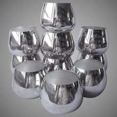 Oneida Roly Poly Silver Plated Cocktail Glasses Handleless Punch Cups 10 Vintage