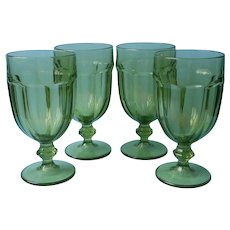 Libbey Duratuff Olive Green Iced Tea Goblets Large Water Vintage