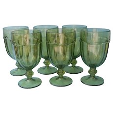 Libbey Duratuff Olive Green Iced Tea Goblets Large Water Vintage Set 6