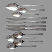 Flight Oneida Community Stainless Steel Flatware Brushed  Spoons Knives Teaspoons
