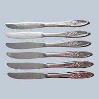 My Rose 6 Dinner Knives Vintage Oneida Community Stainless Steel