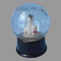 Atlas Crystal Works Snow Globe Paperweight Penguin Child Vintage