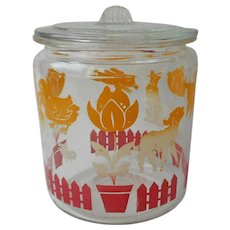 Nursery Kitchen Jar Vintage Glass Screened Red Yellow Ducks Lambs Tulips Bunnies Chicks
