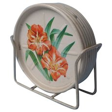 Coasters In Rack Vintage Metal Flowers Set 7