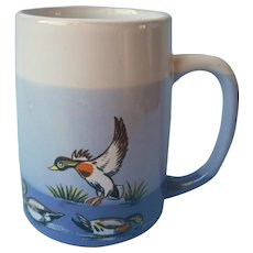 Otagiri Mug Vintage Mallard Ducks Blue Gray Stripes