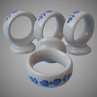 Pfaltzgraff Yorktowne 4 Napkin Rings Pottery Vintage