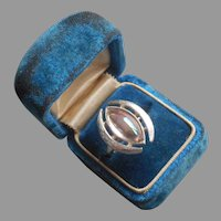1974 Sarah Coventry Ring Crescent Vintage Silver Tone Iridescent Glass Stone 6 7