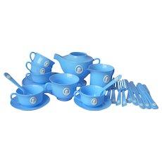 Child's Toy Tea Set Plastic Blue Cameo Vintage 1950s Faux Jasperware Worcester Ware