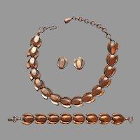 1950s Copper Plated Set Necklace Bracelet Earrings Links