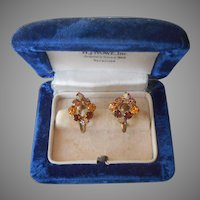 Petite Brown Amber AB Rhinestone Earrings Vintage Screw Back
