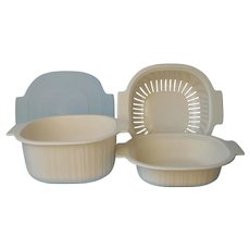 Vintage Microwave Cookware Set Rubbermaid 3 Qt Steamer Casserole 1 Qt Lid