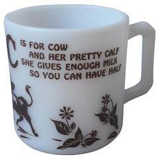 C Is For Cow Vintage Hazel Atlas Glass Child's Mug Cup