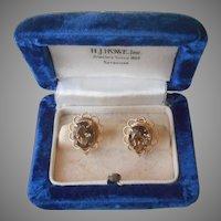 Smoky Quartz Gold Filled Earrings Vintage 1970s Screw Back