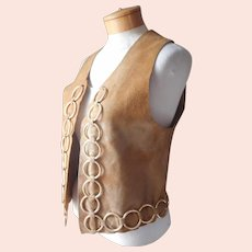 Mod ca 1970 Suede Vest Loaded With Brass Rings Vintage 6