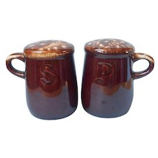 McCoy Brown Drip Pottery Salt And Pepper Shakers Vintage