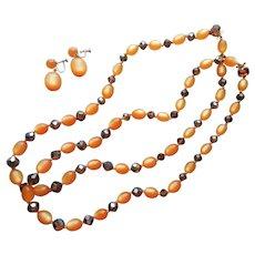 Lucite Crystal Pumpkin Brown AB Necklace Pair Earrings Set Vintage Orange