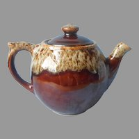 Brown Drip Small Teapot Vintage Midcentury 1950s Pottery 2 Cups