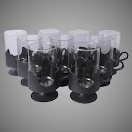 Mod Era Corning Glas Snap Vintage Set 9 Glasses Plastic Frame 10 Ounce