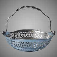 Lauretta 1913 Engraved On Antique English Bonbon Basket Silver Plated