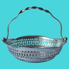 Lauretta 1913 Engraved On Antique English Bonbon Basket Silver Plated
