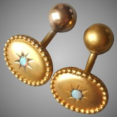 14K Gold Antique Cufflinks Tiny Opal Barbell Style