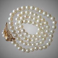 14k Gold Convertible Clasp 6 mm Cultured Pearls Necklace Vintage 1970s