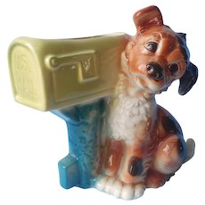 Planter Royal Copley Ceramic Vintage Puppy Waiting By Mailbox