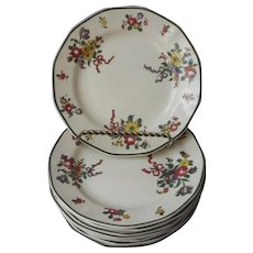 Royal Doulton Old Leeds Sprays Bread Plates Antique 1912 China