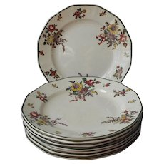 Royal Doulton Old Leeds Sprays Dessert Plates Antique 1912 China