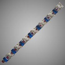 KTF Trifari Vintage Art Deco Bracelet Blue Red Stones Exceptional