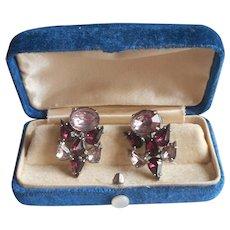 Purple Rhinestones Vintage Earrings Screw Back Silver Tone