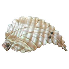 Antique Carved Mother Of Pearl Leaf Form Pin