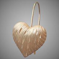 14K Gold Single Earring Heart Pierced Wire