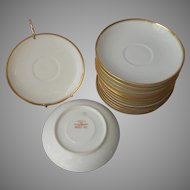 Haviland Limoges 15 Saucers Gold White Antique Made For Mayer and Co. Indianapolis