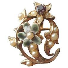 Edwardian Revival Pin Faux Seed Pearls Amethyst Enamel Vintage