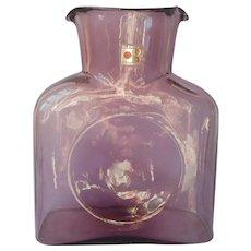 Blenko Orchid Carafe Original Label Water Bottle Vintage