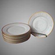 Haviland Limoges 8 Bread Plates Gold White Antique Made For Mayer and Co. Indianapolis