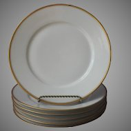 Haviland Limoges 6 Dinner Plates Gold White Antique Made For Mayer and Co. Indianapolis