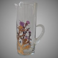 Gregory Duncan Thistles Tall Cocktail Pitcher Glass Vintage Mid Century