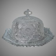 Round Butter Dish Antique EAPG Pressed Glass