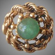 14K Gold Jade Single Vintage 1970s Stud Earring Antiqued Finish
