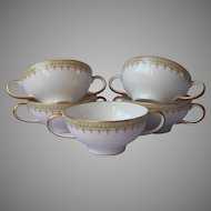 Guerin Limoges Bouillon Cups 2 Handle Green Gold White 5 Antique China French
