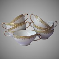 Guerin Limoges Tea Cups 9 Green Gold White Antique China French