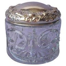 Vanity Jar Antique Presssed Glass Polished Nickel Silver Ornate Lid