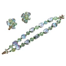 Vendome Exceptional Crsytal Bracelet Earrings Vintage Blue Green