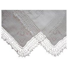 Pair Hankies Tatted Lace Wide Trim Hand Embroidery Vintage Hankie