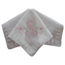 Monogram R Hankie Vintage Madeira Pink Gray On White